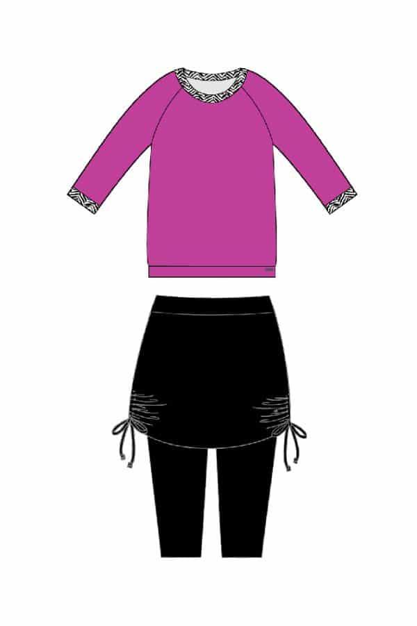 חולצה עם חזייה פנימית וחצאית עם טייץ פנימי