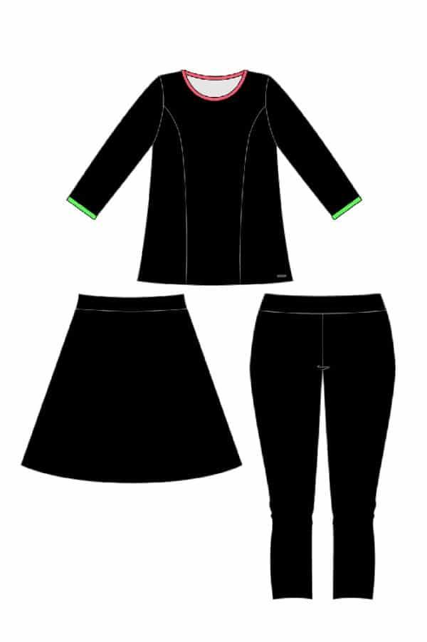 סט חולצה, חצאית וטייץ_ציור